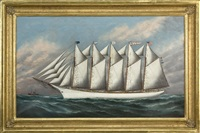 "portrait of the five masted schooner ""fuller palmer"" by solon francis montecello badger"