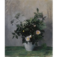a still life with wild roses and cow parsley by elisabeth francoise roelofs bleckmann