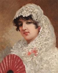 retrato de tereseta, esposa del pintor by jose llovera bofill