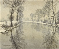 a winter scene on the river erft by maximilien (max) clarenbach