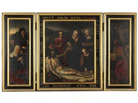 lamentation, saint and donors (triptych) by ambrosius benson