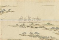 渔乐图 (boating in stream) by wen dian