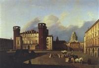 grosse stadtansicht mit einem an das castello estense in ferrara erinnernden gebäude by antonio de pian