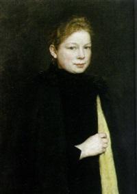 portrait einer jungen rotblonden frau im dunklen umhang mit gelber stola by johannes cathrine krebs