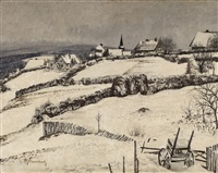 village scene in winter by maximilien (max) clarenbach