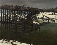 soldiers on a temporary bridge near slomin by maximilien (max) clarenbach