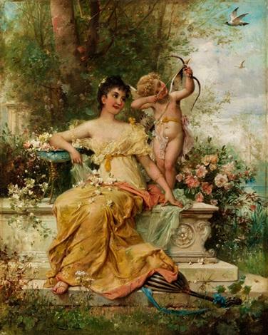 junge dame im park neben einem amorknäblein by hans zatzka