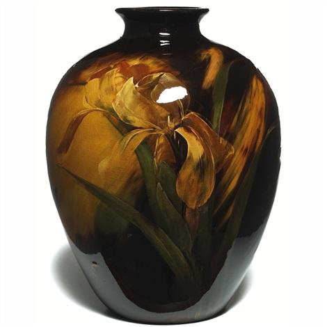 Aurelian Bulbous Vase With Iris Design By C Dibowski By Weller