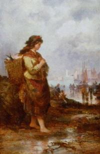 kvinde med fiskekurv by ferdinand franz hoepfner