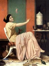 ung pige, der dekorerer græske vaser by alphonse isambert