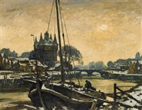 a harbour in winter by maximilien (max) clarenbach