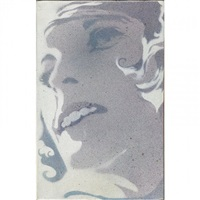 diffusion pigment on canvas of a woman's face by john clem clarke