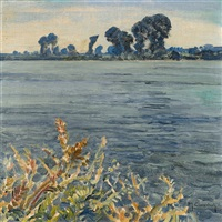 late summer on the rhine by maximilien (max) clarenbach