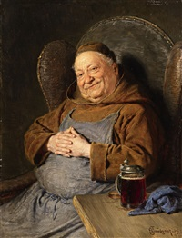 a seated monk with a tankard by eduard von grützner