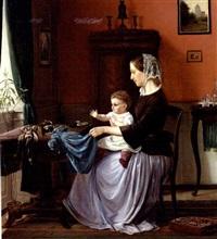 interior fra et borgerhjem med en ung mor, der er ved at klæde sin lille datter på by edvard harald bentzen