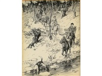youngsters pony trekking in the woods by cecil charles windsor aldin