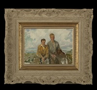 coastal view of two young men and their dog seated on rocks by howard logan hildebrandt