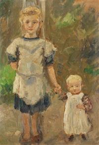 zwei mädchen (+ mädchenporträt; verso) by ernst müller-scheessel