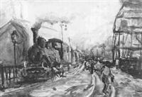 unter dampf stehende lokomotive im bahnhof by willibald kramm