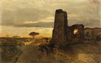 a well on the via appia (oil study) by oswald achenbach