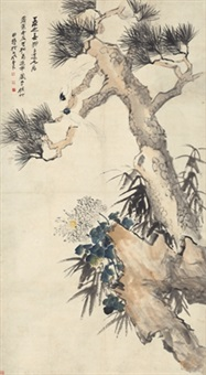 松菊延年图 (chrysanthemum and pine tree) by zhang daqian