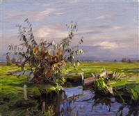 landscape with a weir by alexander max koester