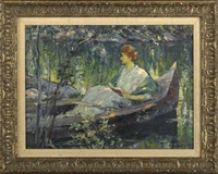young woman seated in a boat reading a book by howard logan hildebrandt
