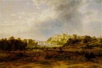 blick auf bernburg/saale mit der hochgelegenen stadt und dem anhaltinischen residenzschloss, im vordergrund eine jagdpartie by raphael carl reinhard
