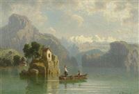 sonntägliche bootspartie auf einem bergsee in tirol(?) by franz hengsbach