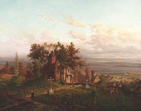 blick in ein weites sommerliches tal mit einer alten romantischen kapelle am friedhof by alfred von ernst