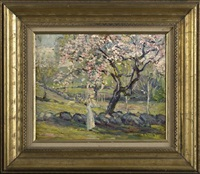 sunlit view of a woman gathering cherry blossoms by howard logan hildebrandt