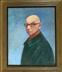 portrait eines mannes mit grünem mantel und brille vor blauem hintergrund by georges andre klein