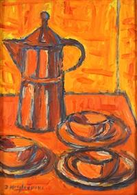 caffettiera con tazzine in orange- und rot-tönen by dino migliorini