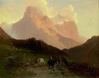 hirtin auf maulesel reitend, ein hirte und weidende kühe vor gebirgslandschaft by jacques dunant