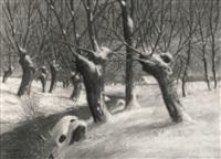 winterlandschaft mit bachlauf by kurt krebs