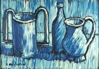 natura morta in blu'vasi e bottiglia by dino migliorini