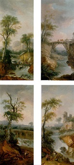 river landscape with herdsmen, maids, and travellers by a waterfall by jean-baptiste cazin