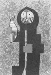 man with gun and bird by umetaro azechi