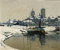 a view of neuss in winter by maximilien (max) clarenbach