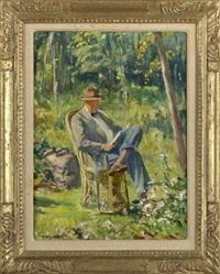 garden view with a gentleman reading by howard logan hildebrandt