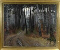 holzsammlerin auf dem heimweg im abendlichen birkenwald by jakob koganowsky
