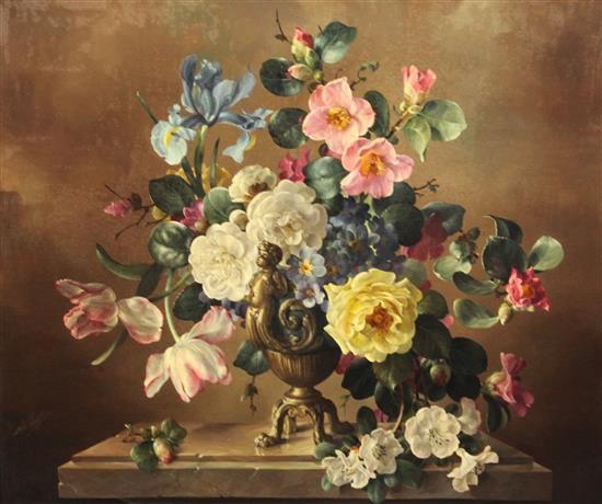 Still Life Of Flowers In A Rococo Vase By Harold Clayton On Artnet