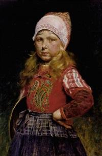 porträt eines kleinen blonden mädchens in bunter tracht (norwegerin?) by rudolf possin