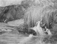 badende nymphen an einem waldteich by hugo hagenkötter