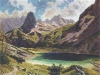 alpelandskab med hojtliggende so i bjergtindernes skygge by heinrich rettig