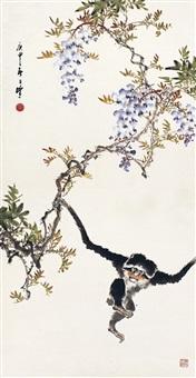 紫藤灵猴图 (wisteria and monkey) by liang zhanfeng