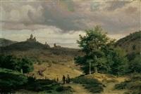 landschaft mit blick auf die schwanenburg in kleve. im vordergrund eine prozession. by eduard wilhelm pose