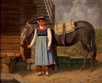 frau in tracht mit maulesel by paul grosheintz