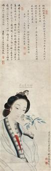 折花仕女 (character) by jiang xun