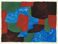 composition bleue, verte et rouge by serge poliakoff